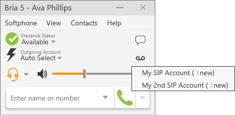 Audio and video calls Accessing voice mail If you have multiple SIP