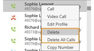 Deleting a call entry You can delete a single call entry or