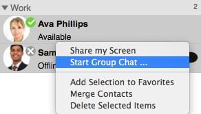 favorites or groups. 2. Right-click (Windows), CONTROL+Click (Mac), or SHIFT+CONTROL+Click (Mac) and choose Start Group Chat.