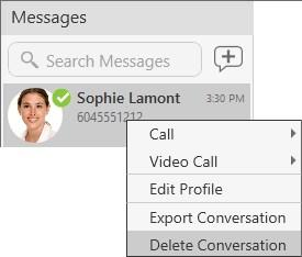 Messaging Working with messages Windows only: Right-click on the session.