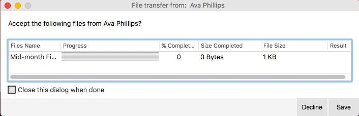 Bria 5 waits for the recipient to accept the file transfer. If you want to cancel the transfer, click Cancel before the recipient accepts.