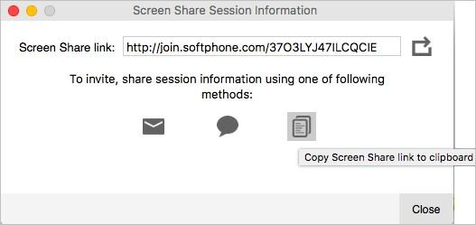 Screen sharing Starting a screen share session 1. On the Screen Share panel, click Invite guests to view your screen. The Screen Share Session Information dialog opens up. 2.