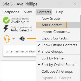On the Contacts menu, click Add Contact.