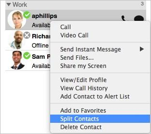 Click Split Contact in the Contact Profile (Windows) or Contact Editor (Mac) window.