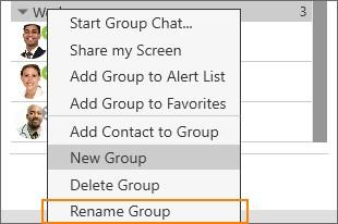 Contacts Managing Groups Renaming a group 1.