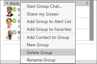 Deleting a group NOTE: There is no warning before the group