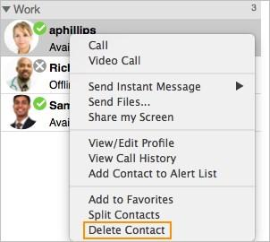 NOTE: Contacts created from directory entries do not show presence when you are using SIP SIMPLE for presence as opposed to XMPP and when contacts are created from an LDAP or Active Directory.