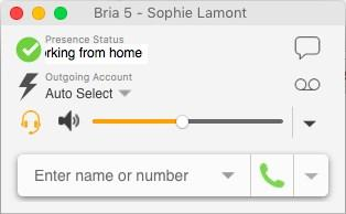 In this case, Bria 5 never automatically switches you out of this status; you must switch yourself. You started a phone call when your status was Available.