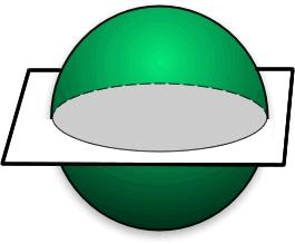 13) The drawing represents A) the intersection of a plane and a cone. B) the intersection of a plane and a prism. C) the intersection of a plane and a sphere.