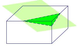 The plane in the diagram is slicing horizontally through the sphere. 14) A plane intersects a rectangular prism as shown. Describe the cross-section.