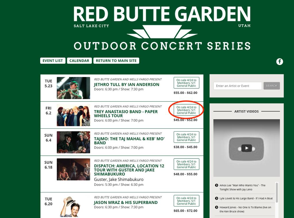 Cngratulatins! Yu nw have a Ticketfly accunt. J Spend sme time and check it ut. Nw enter: redbuttegarden.ticketfly.