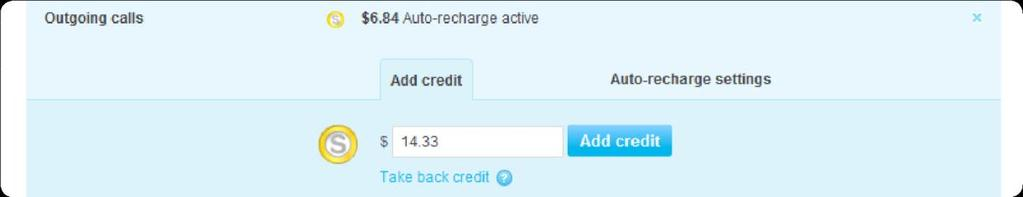 5. If you want to add more Skype Credit, enter the amount of Skype Credit that you want to add to the SIP Profile and click Add credit.