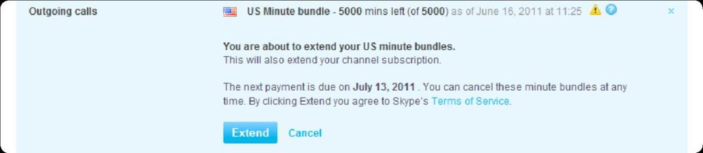 6. Click Cancel US minute bundles. An expiry date for the bundles that you have just cancelled is displayed. 6.3.