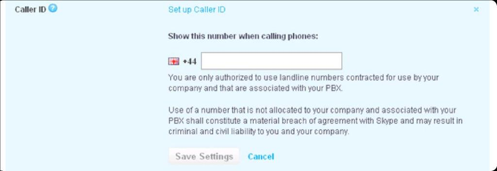 Choose not to present a Caller ID. 6.6.1 Setting up your SIP Profile's Caller ID using a landline number Your company must be verified before you can use a landline number as Caller ID.