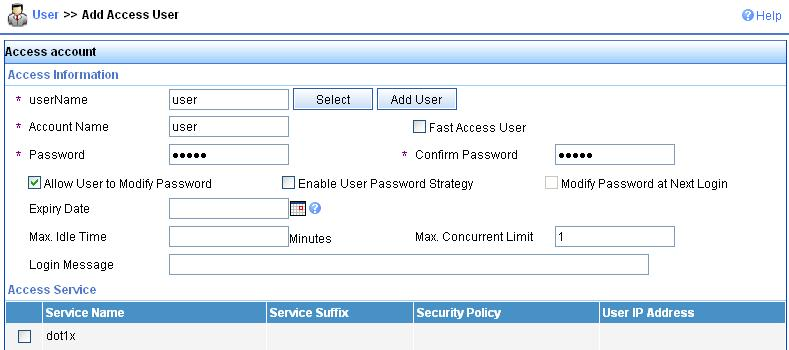 Figure 5-10 Add service # Add account. Select the User tab, and then select Users > All Access Users from the navigation tree to enter the user page.