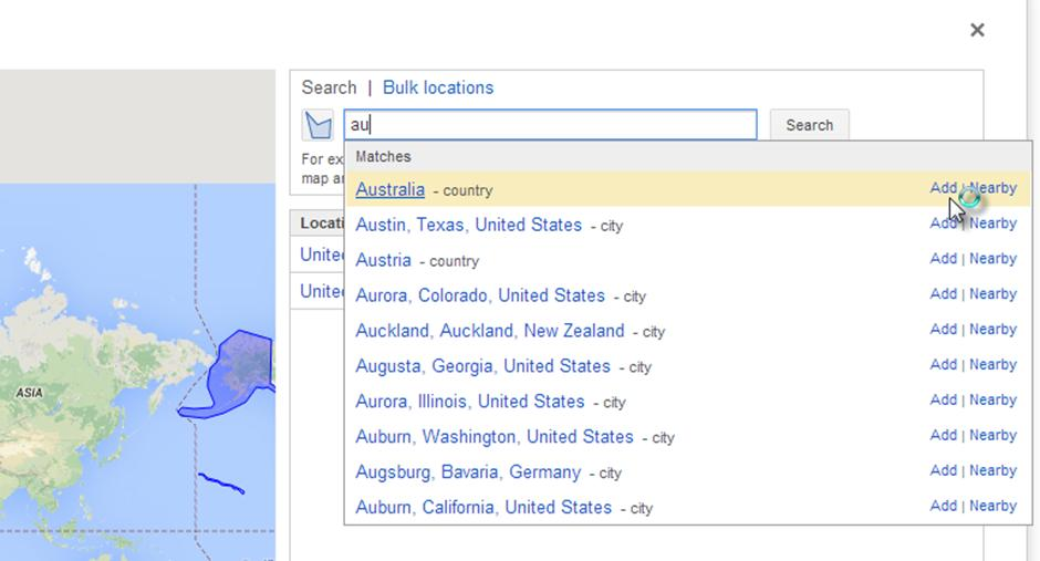 The default filter is set to show results for the US, you could stick with just the US or add more. I always add the UK.