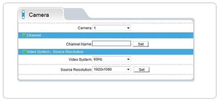 5 Camera Camera Name: Channel Name option can be set, more options are available in the OSD menu.