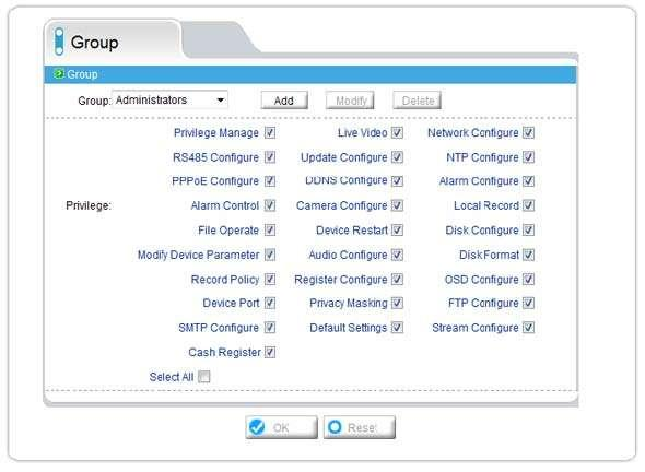 2.12 Privilege Manager 2.12.1 Group Authority Setting Groups with different privilege levels can be created to protect the camera from access and unauthorized