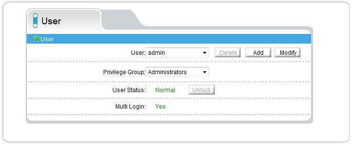 2.12.2 User setting Users can be added, removed or modified and be attached to any group for permissions.