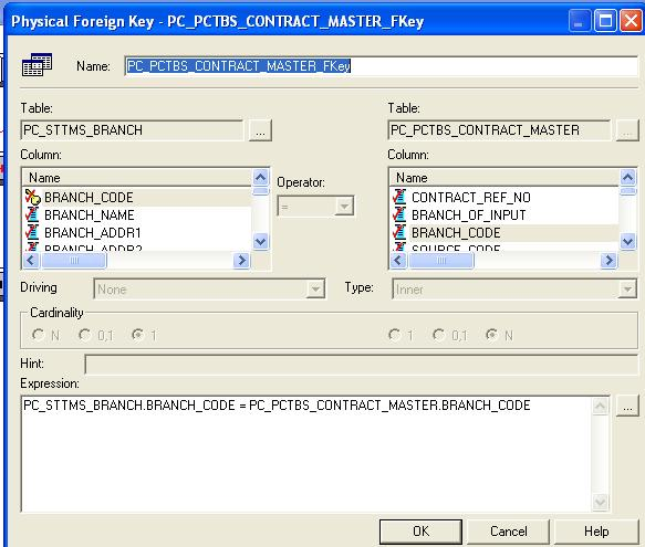20) Click BRANCH_CODE from PC_STTMS_BRANCH and BRANCH_CODE from PC_PCTBS_CONTRACT_MASTER and click on ok.