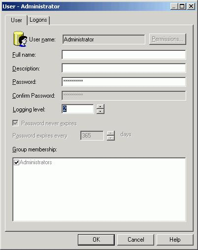 3) In the right pane, double-click Administrator. The User dialog box opens. Verify that the User tab is selected.