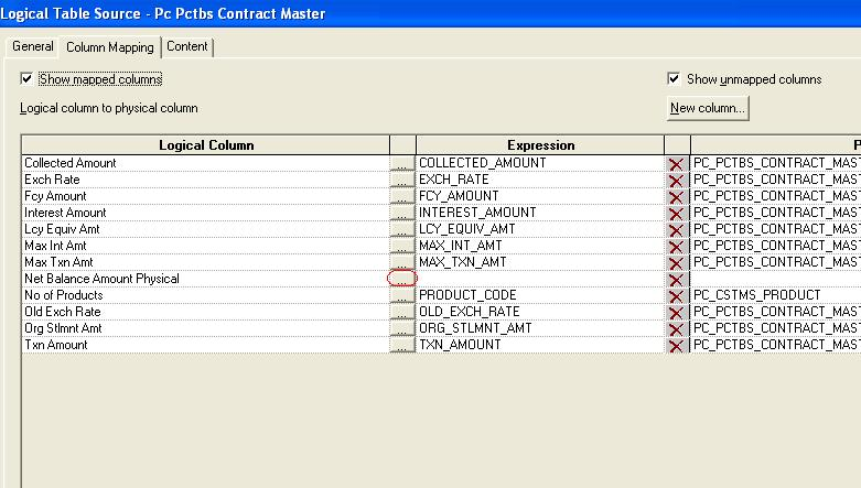 7) In the Expression Builder, select Physical Tables > PC_PCTBS_CONTRACT_MASTER >TXN_AMT