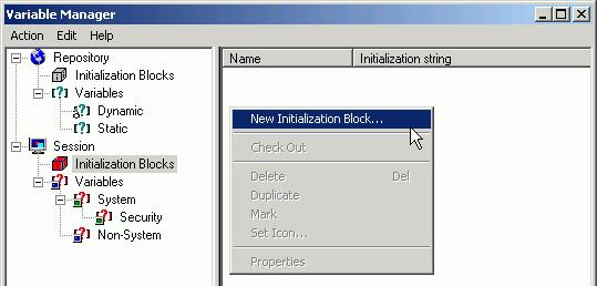 4) In the Session Variable Initialization Block dialog