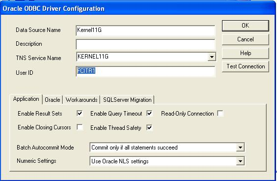 4. Click Finish to open the Oracle ODBC Driver Configuration dialog box. 5.