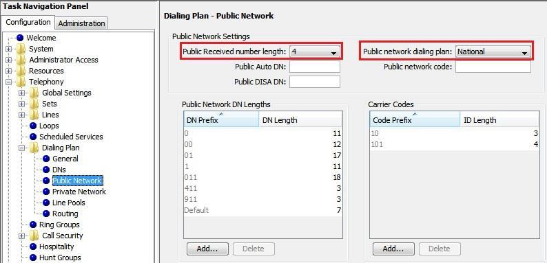 Figure 10 Setup Dial Plan-1 Define the Public Received number length to 4 digits and