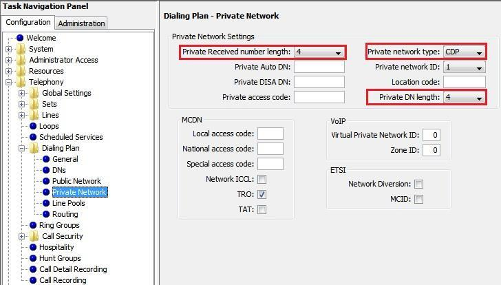 Public Network Figure 11 Dial Plan-2 Define the Private Received number length to 4