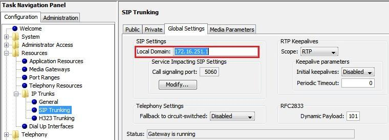 In our LAB example, the trunk description is ESBC and the Proxy IP address is 17