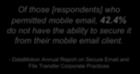 Universal Access to SecureMail From Mobile Devices Of those [respondents] who permitted mobile email, 42.