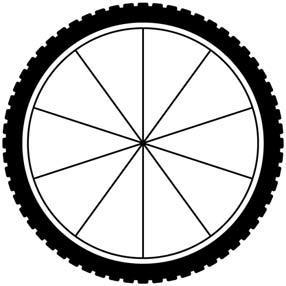 What is the length, to the nearest 0.1 inch, of the outer edge of the wheel between consecutive spokes? two A. 1.8 inches B. 5.7 inches C. 11.3 inches D. 25.