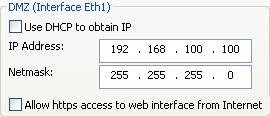3) Define the IP Address and Netmask of the DMZ (Interface Eth1). This is the IP Address that will be used on the Ingate unit to connect to the DMZ network side on the existing Firewall. a. A Static IP Address and Netmask can be entered b.