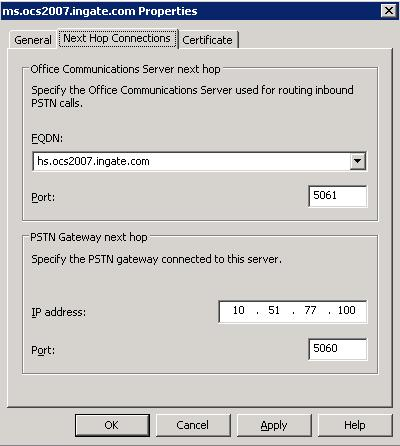 3) a) Under Next Hop Connections, enter the IP Address and port 5060 of the Ingate SIParator in the PSTN Gateway next hop IP address.