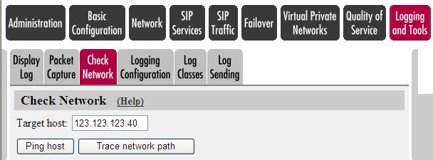 5.4.3 Check Network Standard PING and Trace Route feature for simple