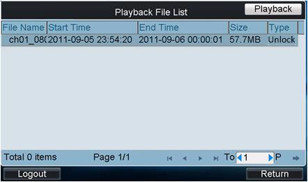4. Set the Start Time and End Time of the video files for playback. 5. Tap Search to search the matched video files.