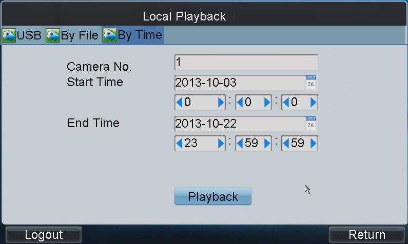Select the file for playback from the list and tap Playback to play back the video file. 3.5.3 Playback by Time 1.
