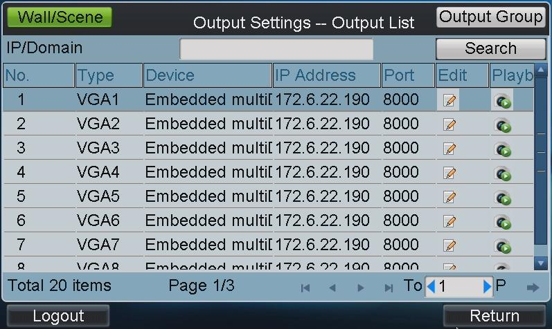 1. Tap Output on the operator main interface to enter the Output Settings interface. Figure 3.14 Output List 2.