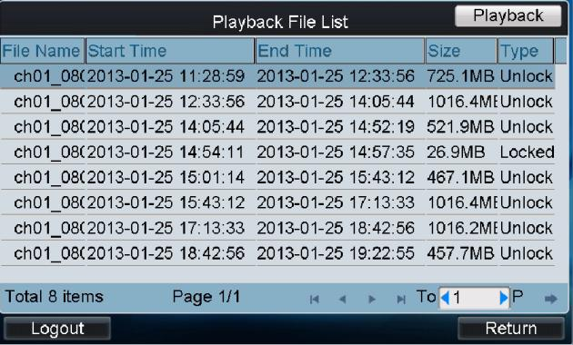 Select the Record Type and File Type. 7. Set the start time and end time of the video files for playback. 8.