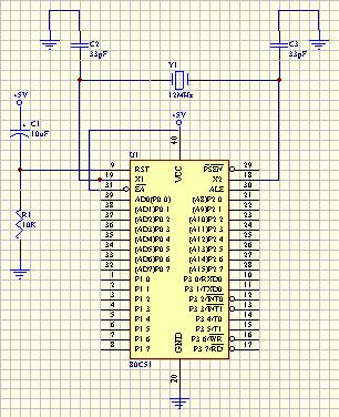 Minimum 8051 Circuit 5V power supply Crystal defines code execution speed connects to X1, X2 pins RC circuit supplies a positive