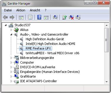 Class Compliant Mode under Windows and Mac OS X On a Windows PC, Class Compliant mode is indicated by a missing RME in the device name shown in the Device Manager.