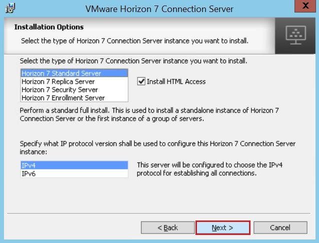 5. On the Installation Options page, select the Horizon 7 Standard Server install option, accept the Install HTML Access