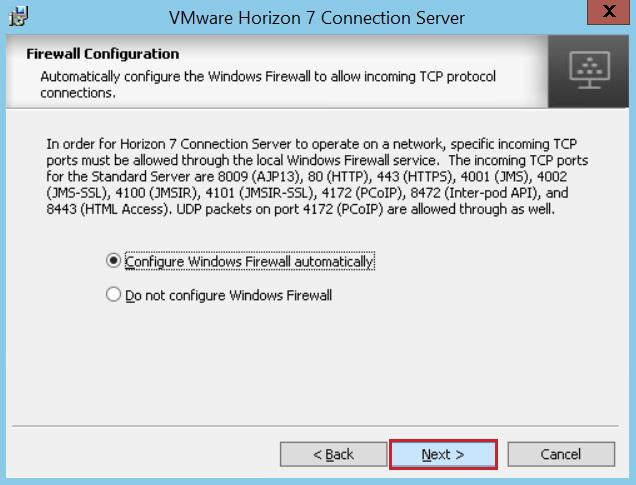 7. On the Firewall Configuration page, accept the default to configure the firewall automatically,
