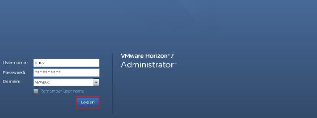 13. Log in to the Horizon Administrator console.