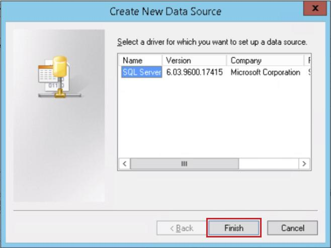 7. On the Create New Data Source page, select the driver for the Microsoft SQL Server database provided with vcenter
