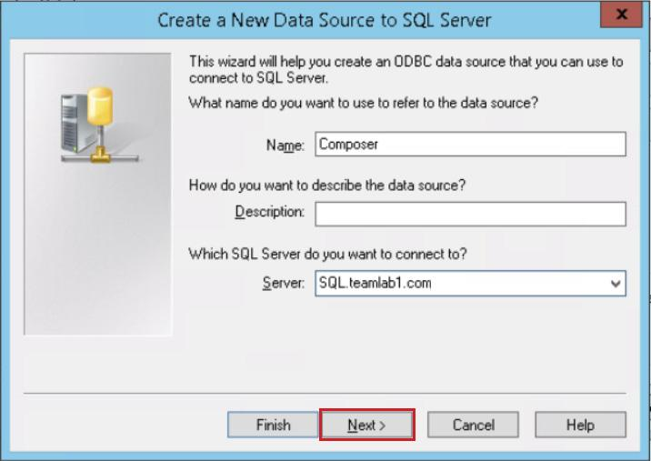 On the Create a New Data Source to SQL Server page, enter the following information, and click Next.
