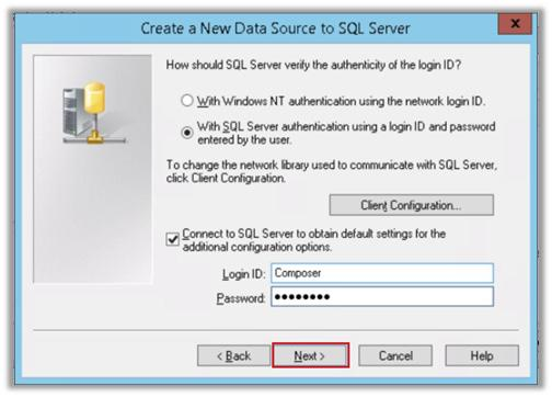 9. On the Create a New Data Source to SQL Server page, select With SQL Server authentication using a login ID and password
