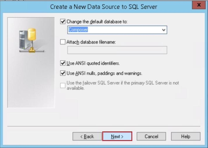 On the Create a New Data Source to SQL Server page, select the Change the default database to check box, and from the drop-down