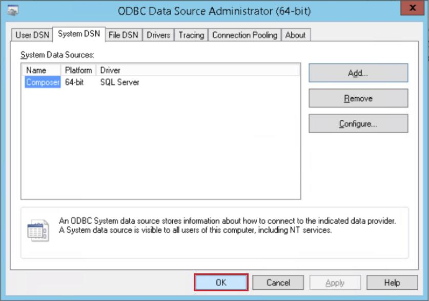 15. On the ODBC Data Source Administrator page, in the System DNS tab, select the new database, and